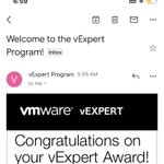 Its an amazing feeling to see this as the first email in the morning. Thanks to #vExpert community for reselecting me. Congratulations to all my friends who also got selected #respect. #VMware #vExpert #vmconaws