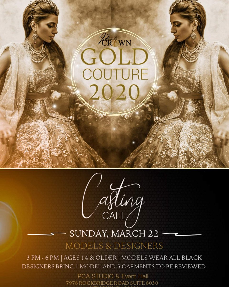 Gold Couture Fashion show is happening June 13, 2020. Final model and designer call March 22nd from 3pm until 6pm.  #models #fashion #fashiondesigners #opencall #goldcouture2020 #fashionshow #designereventsbylakisha #eventplanner #atleventplanner #atlevents #earthquakesmovespic.twitter.com/6jC4qOhKLj