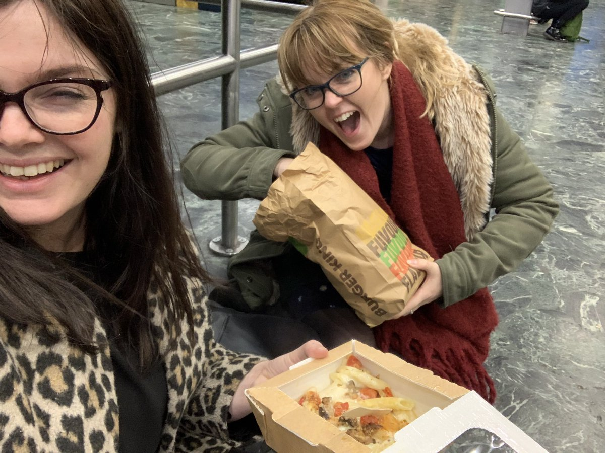 No one else I'd rather be sat on the floor of Euston Station eating my tea with @JenniferRiding