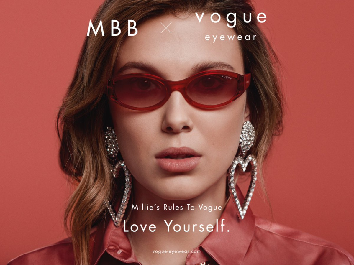 Actress, activist, and influencer Millie Bobby Brown is the new face of @VogueEyewear , with all new MBB x Vogue Eyewear from @Luxottica. Watch via our Video of the Week: http://bit.ly/2ycXMqDpic.twitter.com/f12aNwNId5