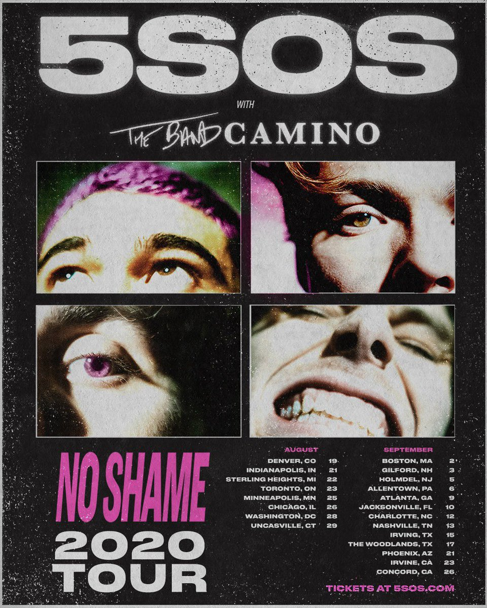 NO SHAME TOUR NORTH AMERICAN DATES WITH @THEBANDCAMINO ARE ON SALE NOW // 5SOS.COM
