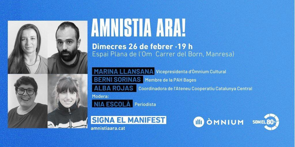 2/2  Marina Llansana, Berni Sorinas i Alba Rojas  SIGNA EL MANIFEST I VINE A L'ACTE! http://www.amnistiaara.cat  #AmnistiaArapic.twitter.com/9mYO5GFeGu
