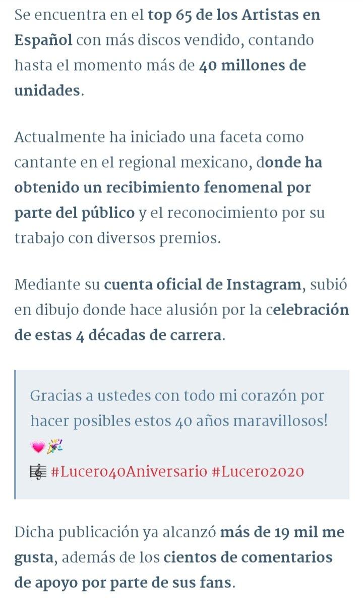 ▪︎TOP 65 DE LOS ARTISTAS EN ESPAÑOL CON MÁS DISCOS VENDIDOS▪︎ @LuceroMexico #Lucero40Aniversario #Lucero2020pic.twitter.com/iK9KyNMXDC