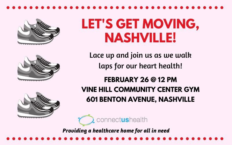 Mark your calendars for THIS Wednesday at noon! Bring your sneakers & join us at the Vine Hill Community Center gym to walk laps for heart health pic.twitter.com/sdvO8GZA12