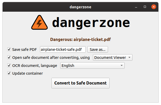 For the last few months I've been working on an exciting new tool called DANGERZONE. It lets you convert potentially malicious PDFs or office documents into PDFs that you know are safe. I'll be releasing it at @nullcon in Goa, India!