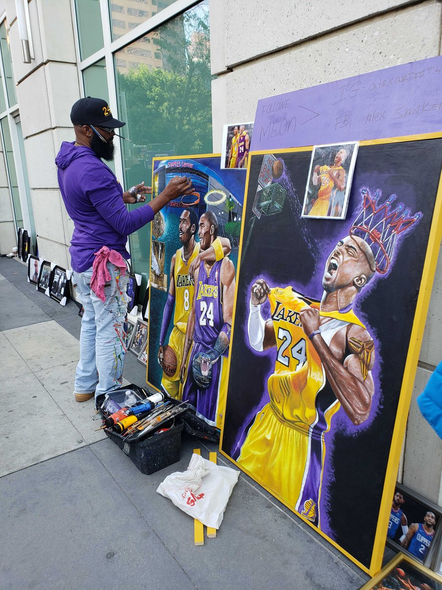"test Twitter Media - Michael Sanker, an artist from Belize, brought these two Kobe paintings to Los Angeles. He wanted to complete them outside of Staples Center.  ""I could have never finished this inside a studio, I wanted to share it with the public."" https://t.co/DHvMaeIr6Z"