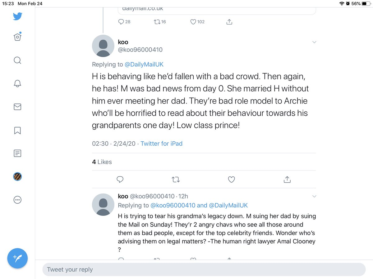 This daily mail @DailyMailUK bot/troll is now whining about unkindness and rudeness and has deleted tweets! Which dm hack is behind this? #HarryandMeghan #duchessmeghan #princeharry https://twitter.com/koo96000410/status/1231918959693369344…pic.twitter.com/l7G3Mji4uL