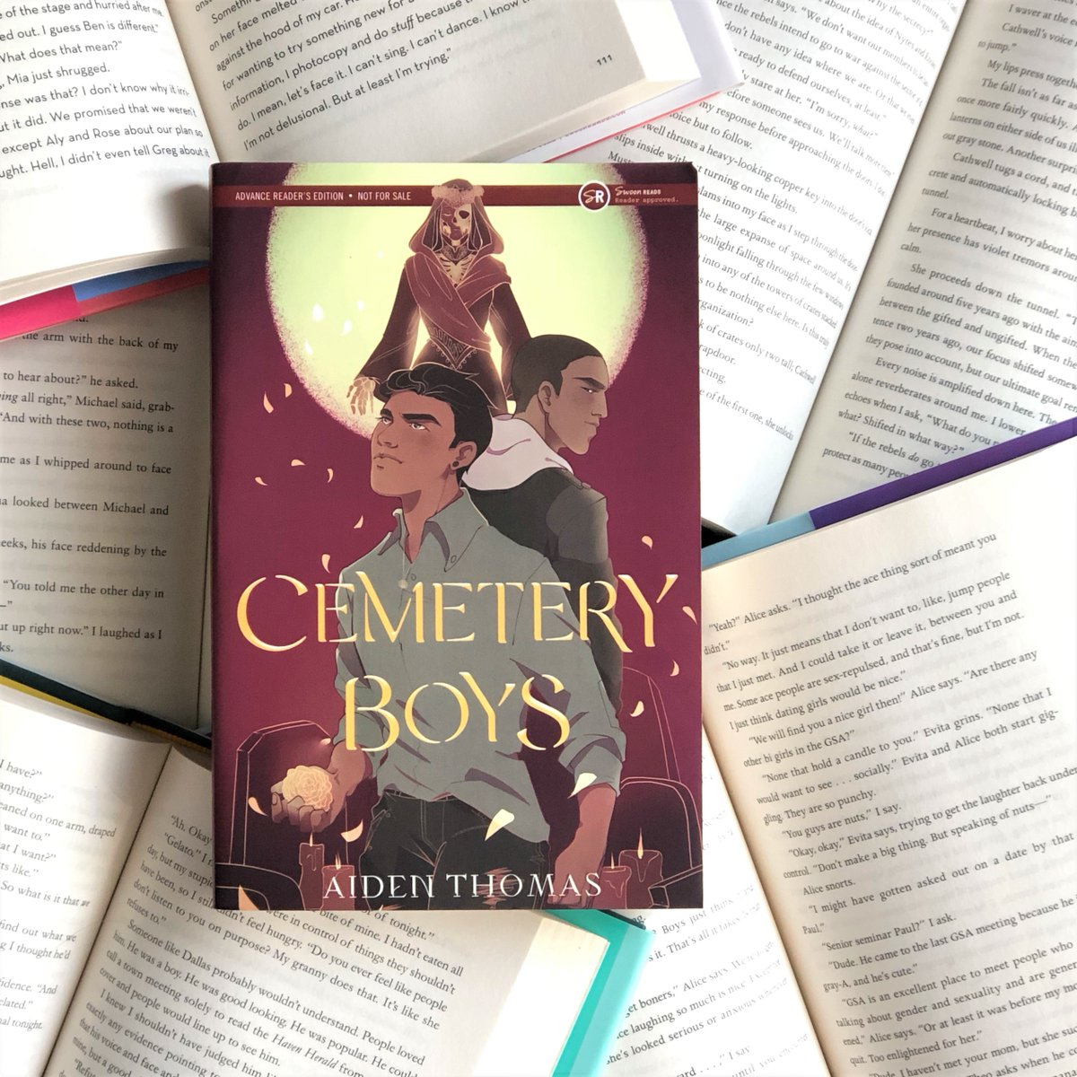 """""""Perfectly balances the vibrant, energetic Latinx culture while delving into heavy topics like LGBTQ+ acceptance, deportation, colonization, and racism within authoritative establishments."""" — @TeenVogue on @aidenschmaiden's CEMETERY BOYS, out June 9! http://ow.ly/MmPf50yukcypic.twitter.com/Bdkz7PCaUF"""