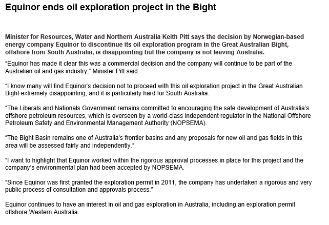 BREAKING: Equinor pulls out of drilling in the Great Australian Bight. The company - part owned by the Norwegian government - says the decision was commercial. Comes after a big environmental campaign in Australia #fightforthebight Australian Government has responded @abcnews