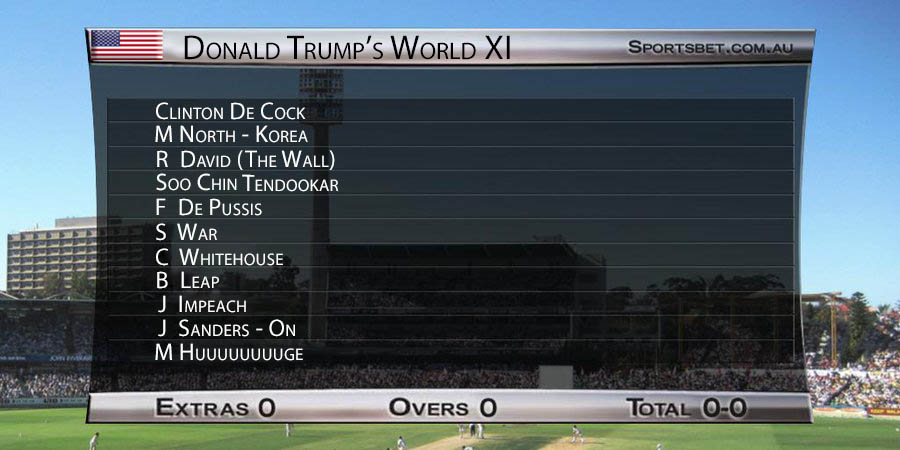 Donald Trump's World XI brought to you by Ricky Ponting Cricket '05... #TrumpInIndia