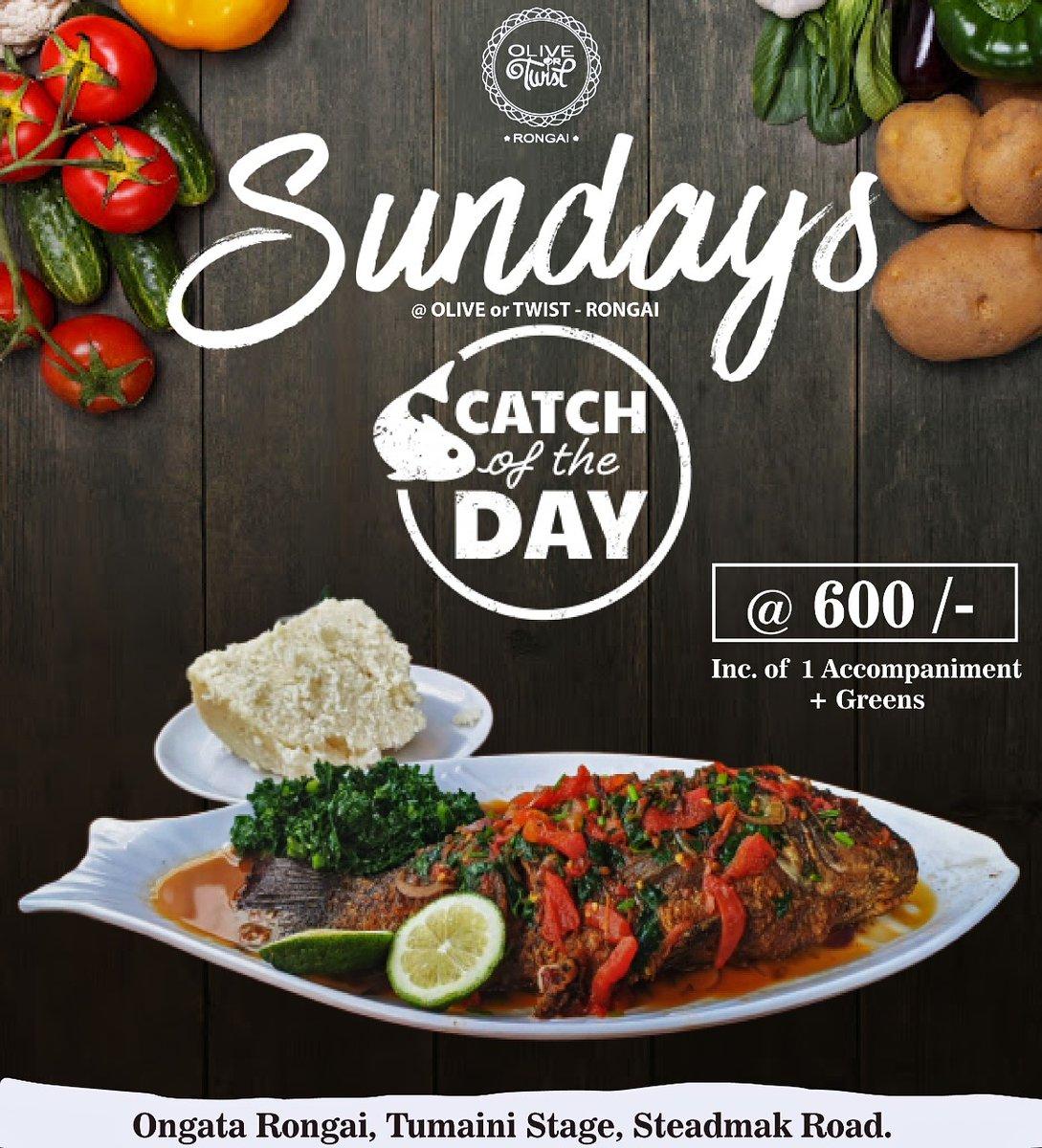 Sundays Special CATCH OF THE DAY Flavorsome Whole FISH, Inclusive of 1 Accompaniment +  Greens @ 600 /- . Karibu OLIVE or TWIST LOUNGE - RONGAI  #fish #CatchOfTheDay Vanessa Kobi Waiguru Betty Naivasha #lakeside pic.twitter.com/4mfmSrBGDg