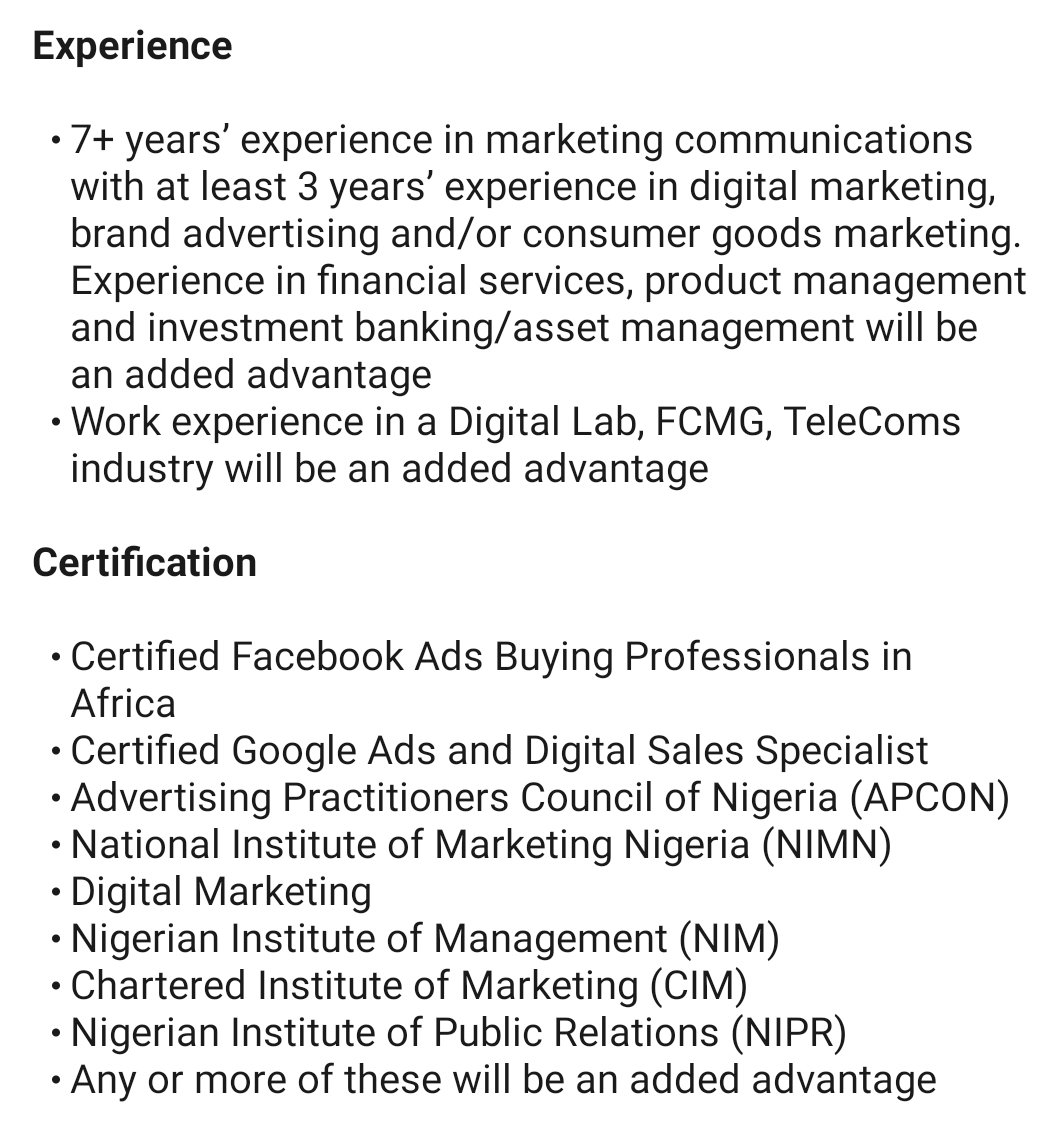 We need to start flogging some HR people. You want someone with all of these and offering salary of less than N600k. #OnlyinNigeria pic.twitter.com/1a41VaLKIQ
