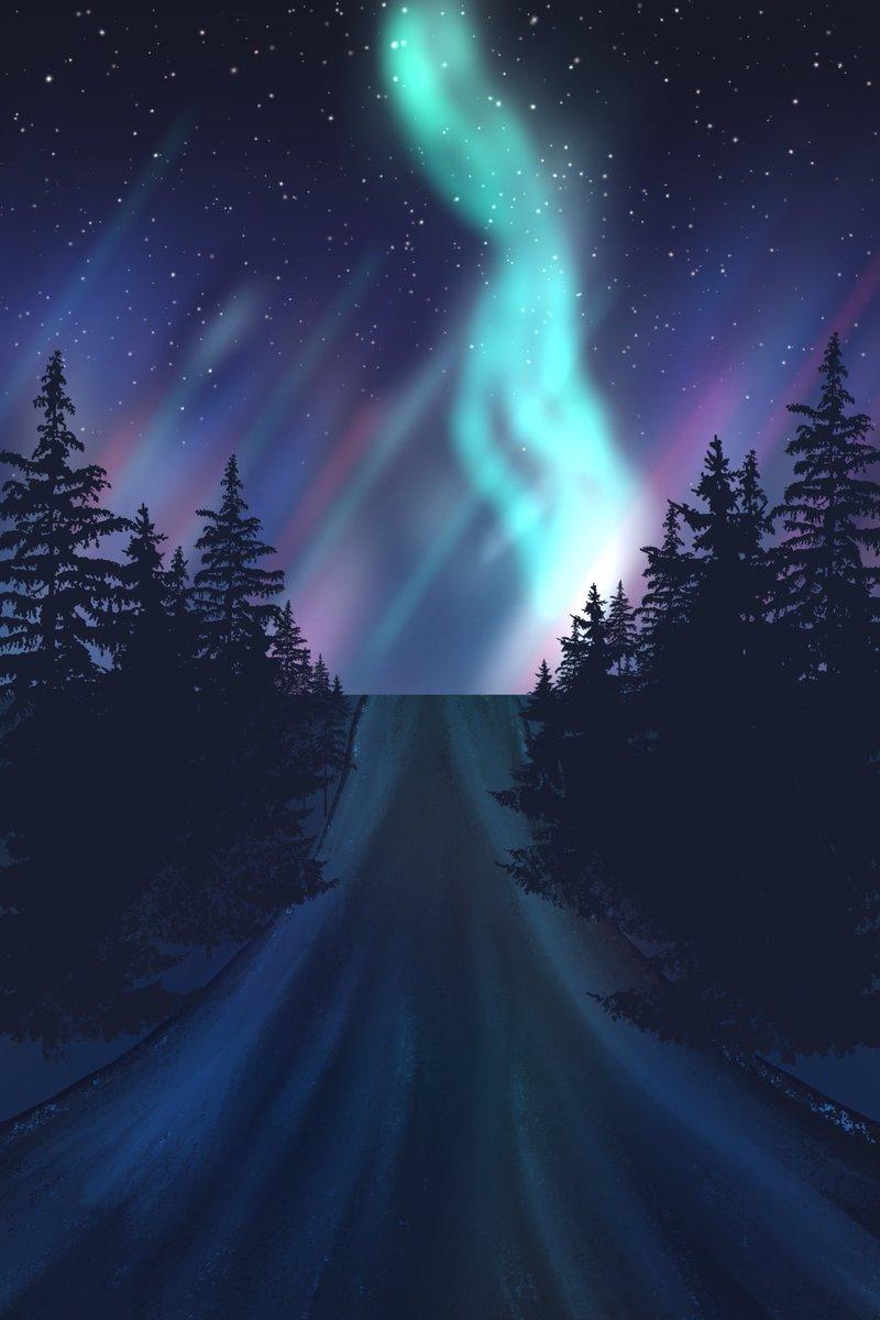 Aurora Tutorial by Art with Flo on YouTube @floortjesart so much fun #procreate #procreateart #aurora #nightscape #stars #night #roadpic.twitter.com/TtVzJyYHBu