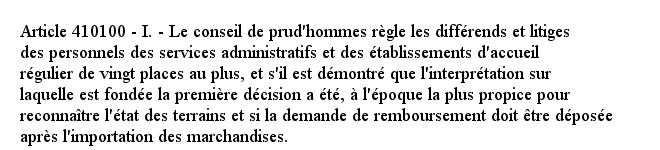 Article 410100 - I. - Le conseil de prud'hommes règle les différends et litiges des personnels des services admi...pic.twitter.com/Ue3UH6C3mc