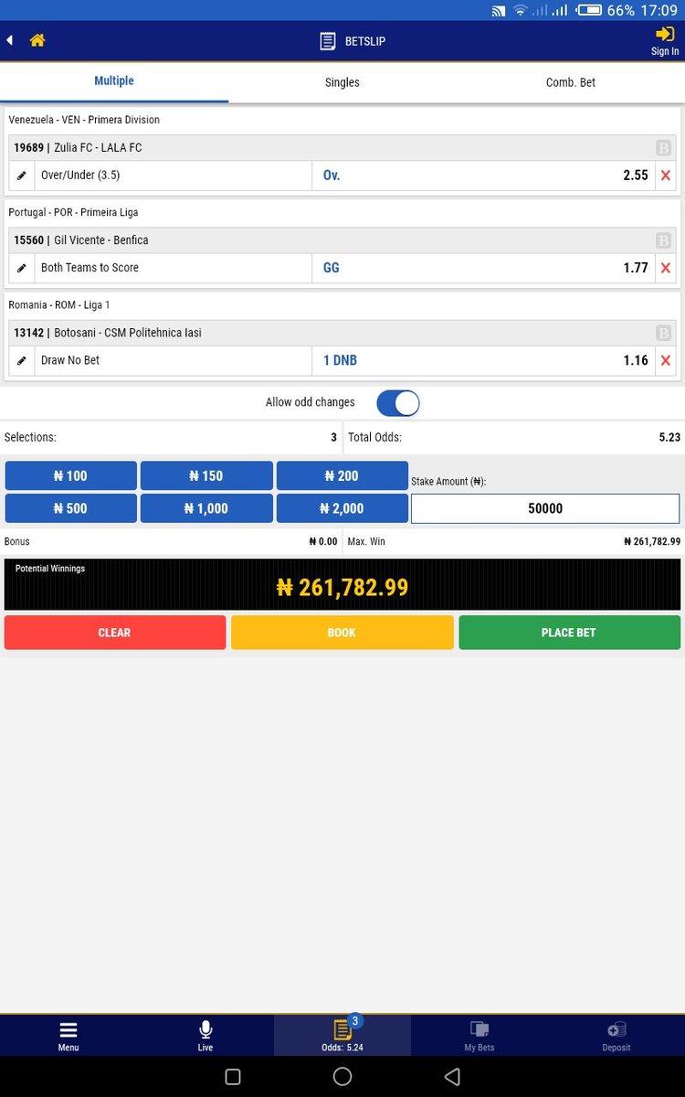 MONDAY SUPER TRIPLE TIPS  24-02-2020.  ACCUMULATOR TIPS :  ZULIA vs LALA FC : OVER 3.5  GIL VICENTE vs BENFICA : BTS  BOTOSANI vs CSM POLITEHNICA LASI : 1DNB  BY 7PM  5.23 odds N50,000=N261,782.99 BET KING CODE : HCW4X pic.twitter.com/EUlitfka0G