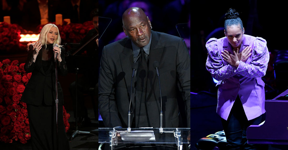 .@Beyonce, Michael Jordan, @aliciakeys, @xtina, @SHAQ and more help honor Kobe and Gianna Bryant at Staples Center memorial: http://bit.ly/2HTUzyW  #KobeFarewellpic.twitter.com/Qh1icRctRC