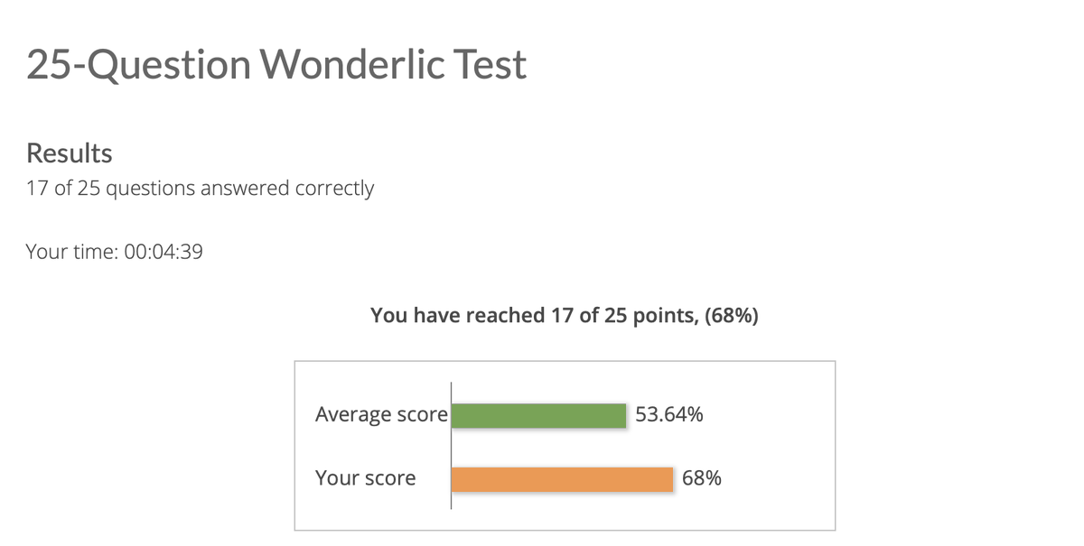 Just took a Wonderlic sample and got a 34. I'll take it. #NFLCombine