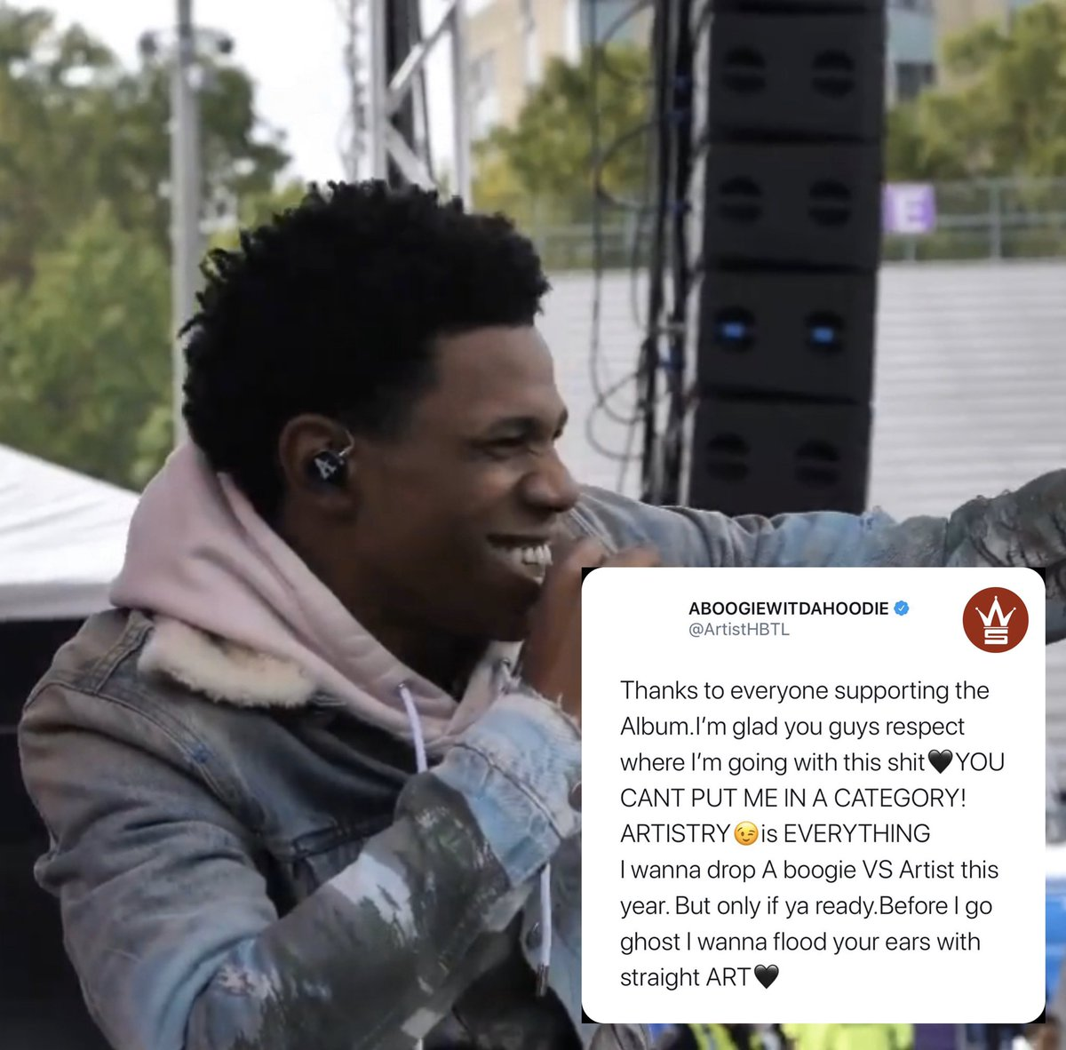 #ABoogie thanking his fans for supporting his latest album and more... what's your favorite track so far on his album #Artist20 @ArtistHBTL<br>http://pic.twitter.com/ZIrUStYnUM