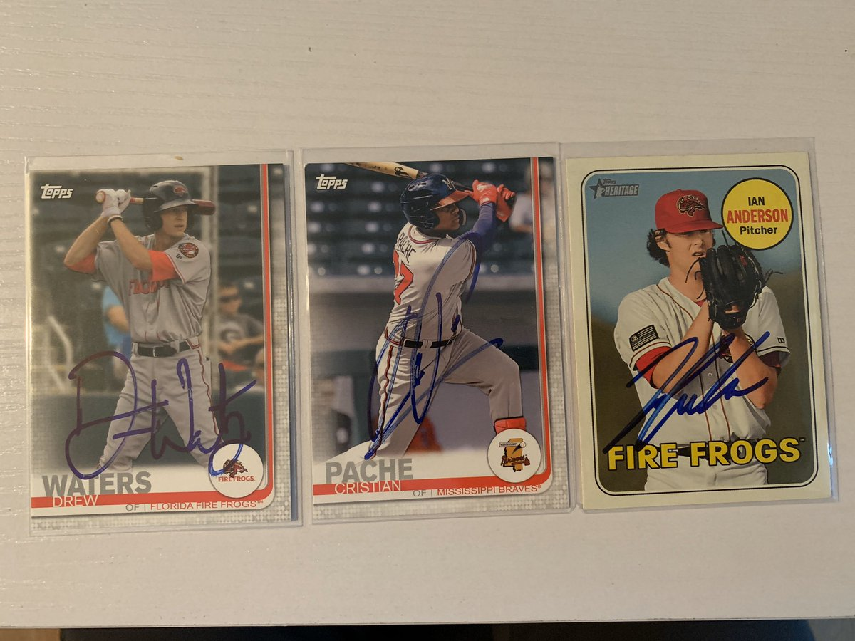 I have Pache, Waters and Anderson cards. 1 of each. Would anyone be interested in them? They are not certified but I assure you they're authentic. I got them signed in Durham last year. DM if interested. #Braves #baseballcards