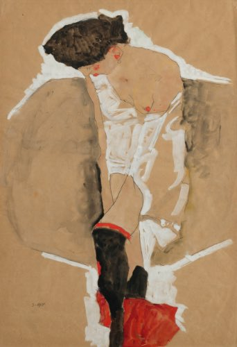 Egon #Schiele - STANDING FEMALE IN SHIRT WITH BLACK STOCKINGS AND RED SCARF, 1911pic.twitter.com/bFuFsXwN4q