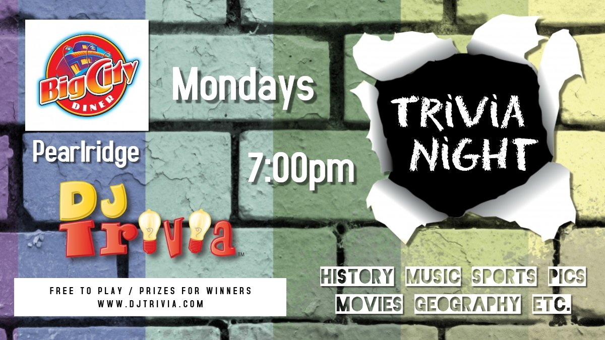 Looking for a place to hang out with friends and family on a Monday evening while doing something extremely fun?  Join us for DJ Trivia at @BigCityDiner Aiea - 7pm Teams of any size / Free to play / Win prizes! #hawaiilife #oahueats @BCDlane #hawaiitrivia #onolicious #djtrivia