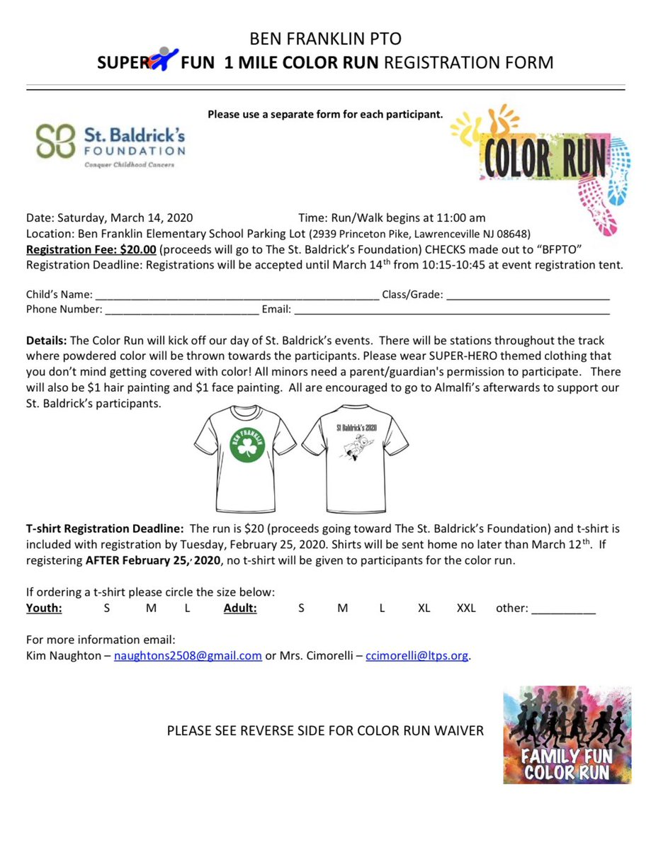 Reminder: Tomorrow is the last day to register for the Color Run with an included t-shirt!    Registration for the Color Run will be accepted through March 14, however tomorrow is the deadline to order a t-shirt pic.twitter.com/VkEwwOE1dg
