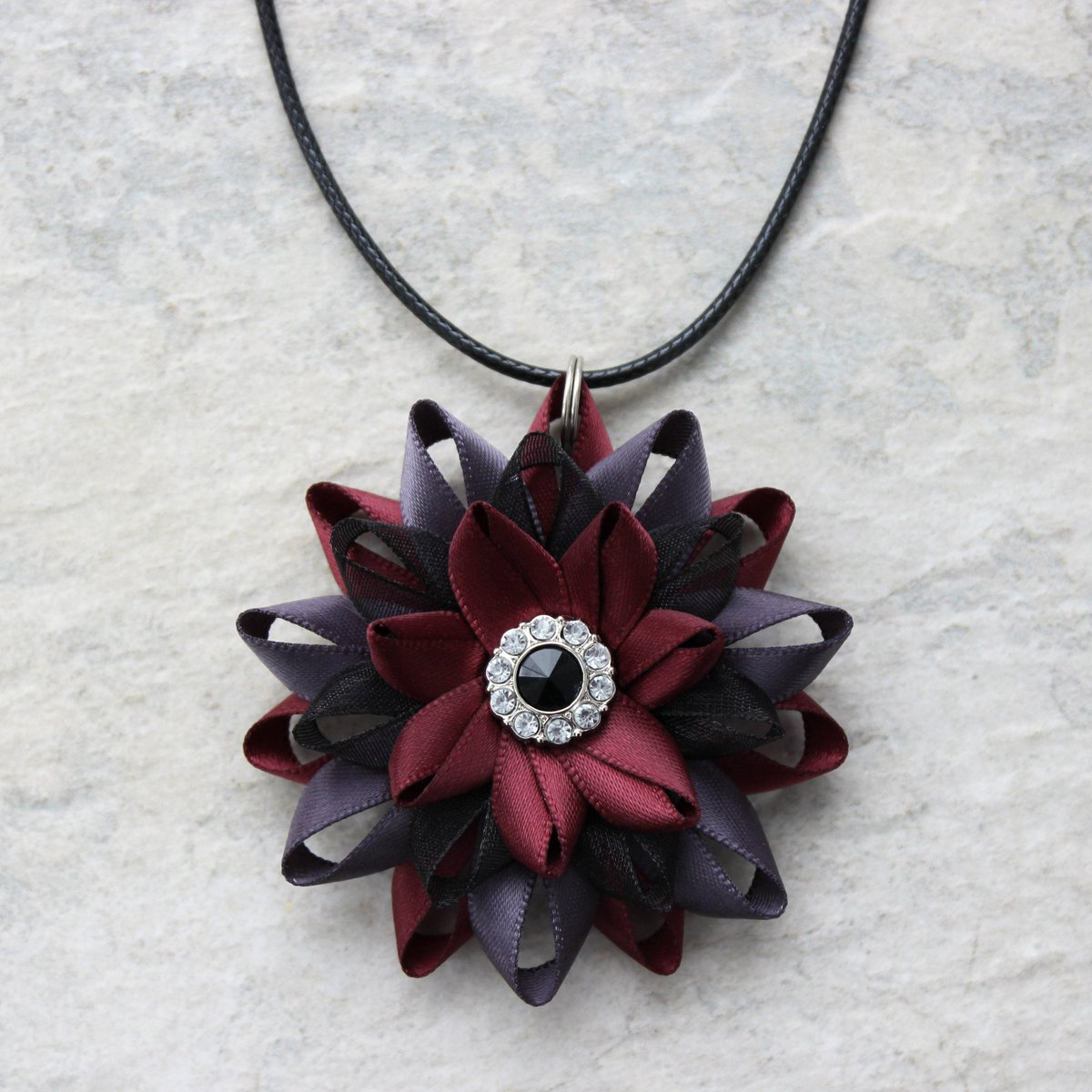 Unique Gift for Her, Unique Necklace Gift, Burgundy Necklace Set, Jewelry Gift Ideas, Gift for Coworker, Burgundy, Metal Gray, Black Organza http://tuppu.net/488ecfd4  #store #sale #shop #etsyshop #shopping #shopsmall #etsy
