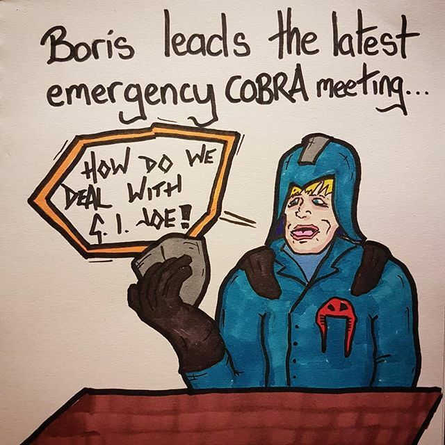 Anyone else picture this whenever they hear about these cobra meetings? #jokes #comedy #funny #cartoon #doodle #silly #politics #politicalmemes #borisjohnson #conservatives #gijoe #cobra #gojoe #80s https://ift.tt/2urtcct pic.twitter.com/LXkCcqaK2A