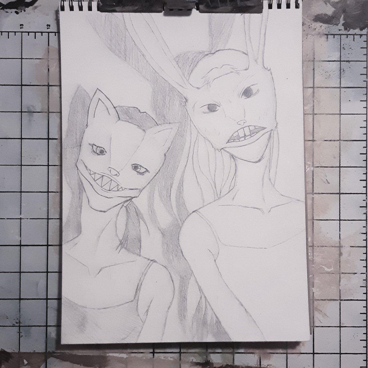 Finally have a new piece up on the easel. #art #artist #artwork  #WIP #workinprogress #process #acrylicpainting #acrylicpaint #paintingprocess #pencilsketch #illustration #theillustrationroom #artofvisuals #painting #darkart #weirdart #maskspic.twitter.com/Mr4l8p9c4z