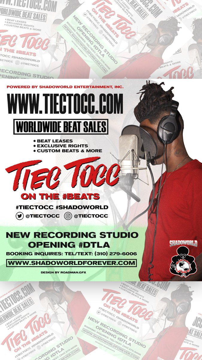 @TIECTOCC ON THE #BEATS #SHADOWORLD   NEW RECORDING STUDIO OPENING #DTLA #RECORDINGSTUDIO #MUSICSTUDIO #PRODUCER WORK AND THEN WORK HARDER #NODAYSOFF #TIECTOCC #THEFLESH AND @Ahrae  #AHRAE #QUEENA #EMPRESS ALBUMS COMING SOON... #MUSIC #PLAYLIST  FLYER DESIGN BY @roadman_design