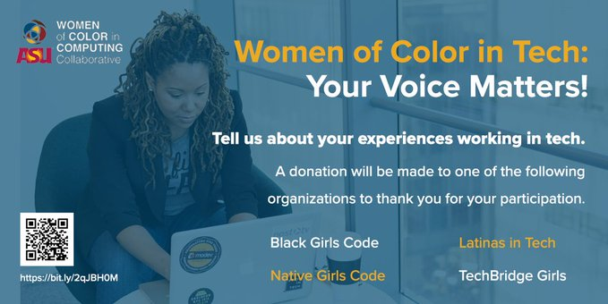 Women of color in tech, when you take our 10-min survey you can direct a donation to @latinas_tech or similar orgs  https://t.co/ZHlfWNzRsm