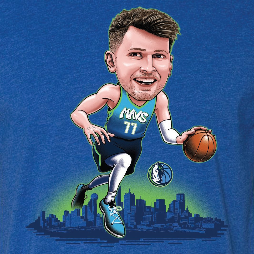 It's #GAMEDAY! Tonight at The Hangar, grab our #ItemOfTheGame, our Luka City Edition Caricature Tee for only $25! (Orig. $35). This offer is available in-store and online, tonight only while supplies last! Grab yours here:  #dallasmavs #lukadoncic