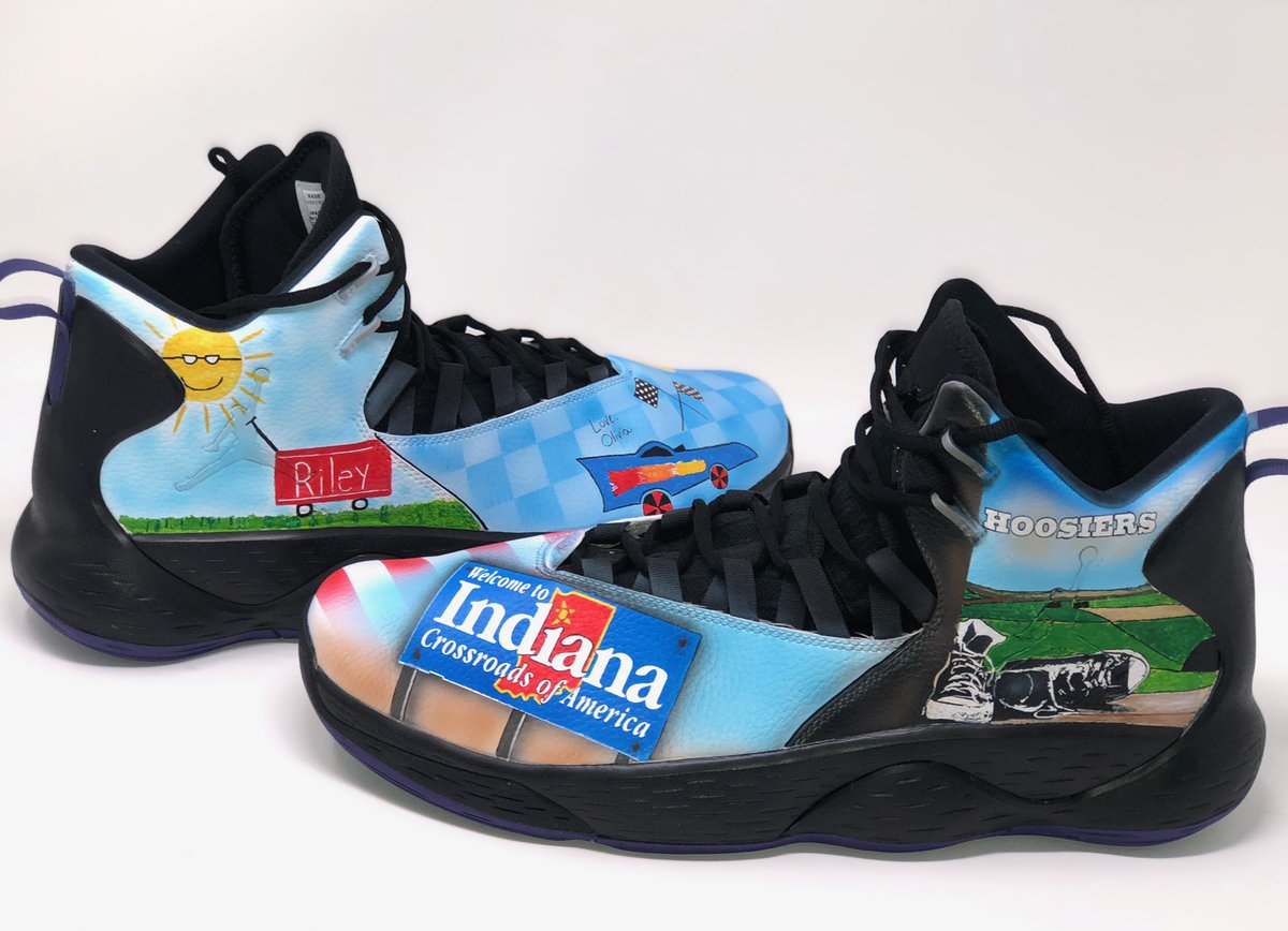 Tomorrow I'll be wearing these sweet Indiana themed #KicksForKids designed by kids at Riley Hospital for Children! With a $15,000 donation to @RileyKids I want to continue to encourage kids to make the most of their childhood and never grow up!<br>http://pic.twitter.com/7AY5ruJueX