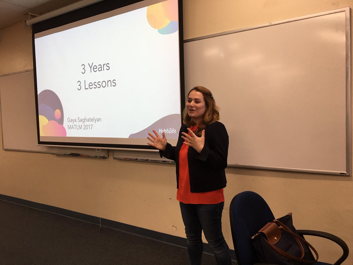 """3 Years, 3 Lessons"" from LA to Monterey to Germany working for her dream employer @HubSpot . Gaya Saghatelyan, @MIIS alum, giving back by sharing career management insights learned since graduation. @WomenInL10N @MIISalumni<br>http://pic.twitter.com/dYZZ6iajHf"