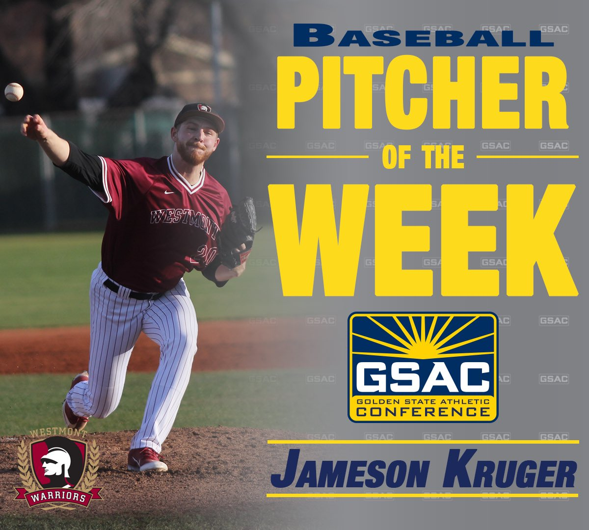 Congratulations to Jameson Kruger on being named Pitcher of the Week and Landon Riker on Player of the Week honors‼️⚾️  #POTW #NAIA #GSAC