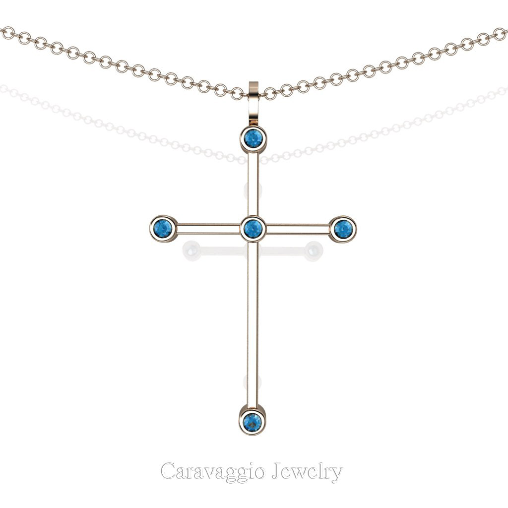 New  Art Masters Caravaggio 14K Rose Gold 0.15 Ct Blue Topaz Cross Pendant Necklace 16 Inch Chain C623-14KRGBT by Caravaggio Jewelry