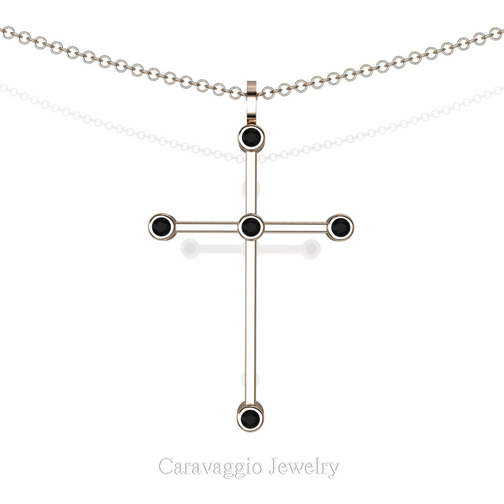 Exclusive  Art Masters Caravaggio 14K Rose Gold 0.15 Ct Black Sapphire Cross Pendant Necklace 16 Inch Chain C623-14KRGBLS by Caravaggio Jewelry
