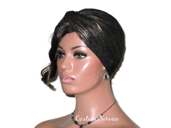 Handmade Gold Twist Turban, Black, Metallic http://bit.ly/2QnVFrH #CoutureService #Shopify #MetallicGoldTurban