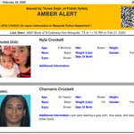 Image for the Tweet beginning: ACTIVE AMBER ALERT for Nyla Crockett