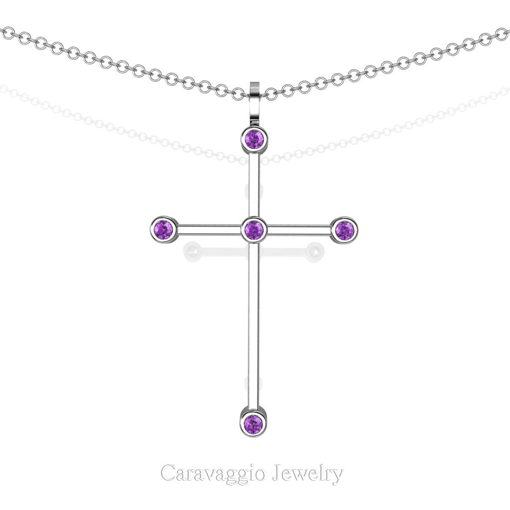 Exclusive  Art Masters Caravaggio 14K White Gold 0.15 Ct Amethyst Cross Pendant Necklace 16 Inch Chain C623-14KWGAM by Caravaggio Jewelry
