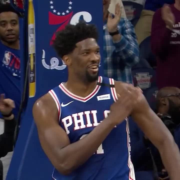 Replying to @NBATV: Embiid was HYPED after dropping a new career-high 😂🕺
