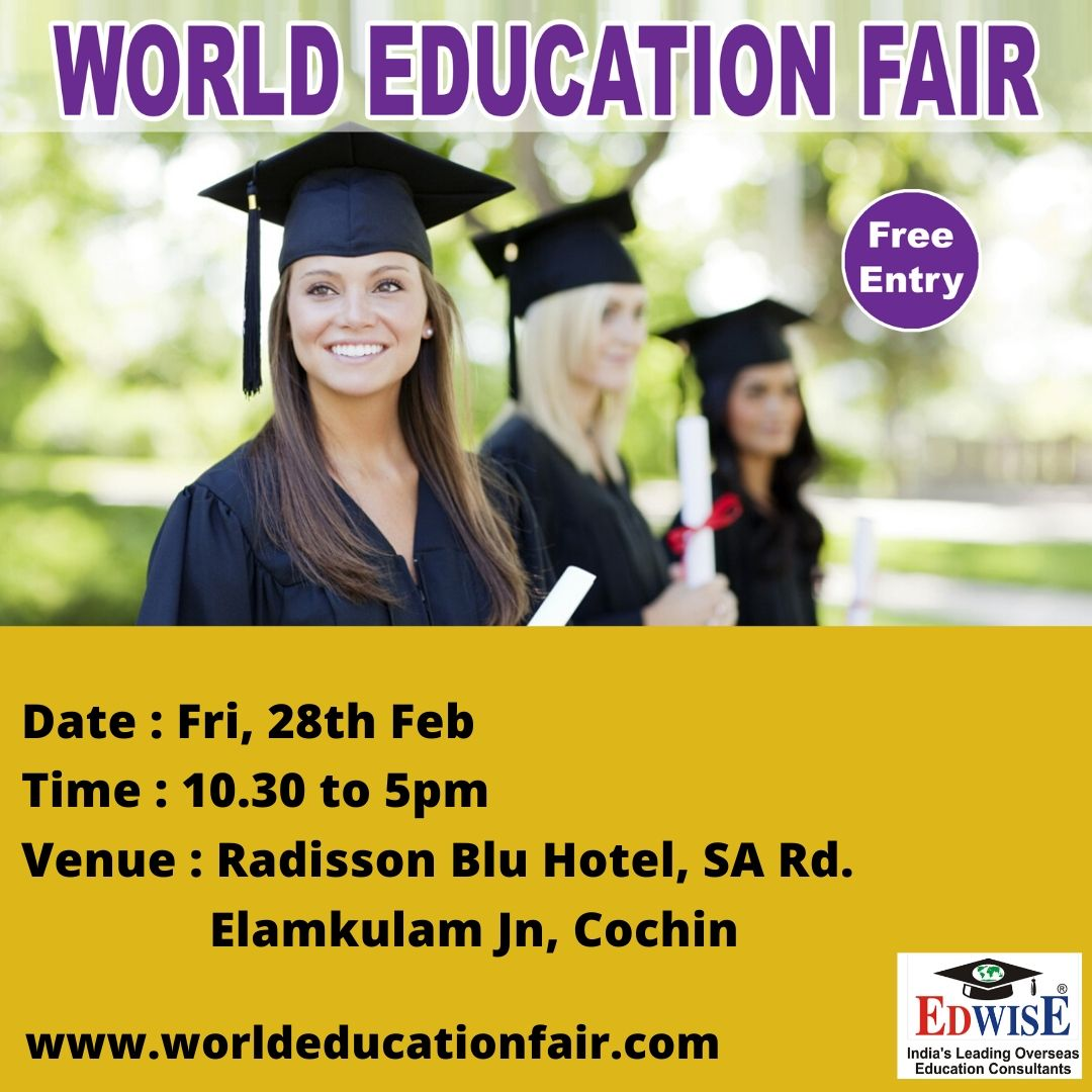 http://www.worldeducationfair.com  #studyabroad #abroadstudies #ug #pg #overseas #education #benefits #abroad #courses #universities #colleges #consultants #admissions #counseling #freecounseling #counselor #events #fairs #cochin #edwise #edwiseinternational #futurethroughedwisepic.twitter.com/43r2yvl47R