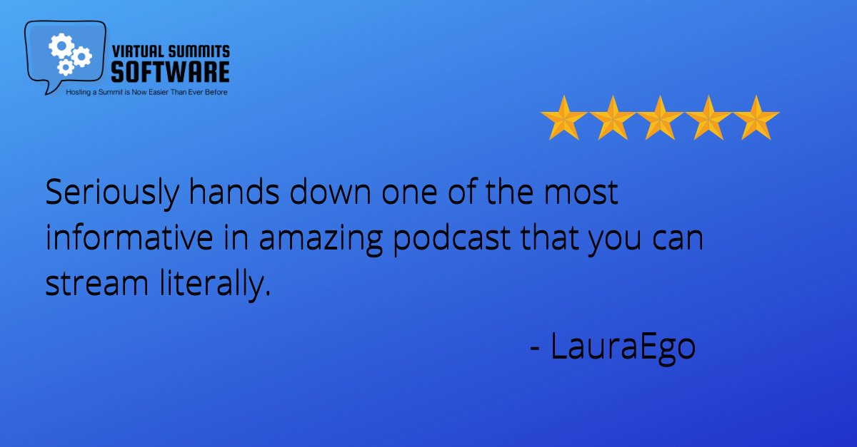 Thank you for the 5-star rating.  If you're new to our Summit Tribe, check out our latest tricks & tips at @VirtualSummits #podcast.  #virtualsummit #virtualsummithost #virtualsummitstrategy #virtualsummittips #virtualsummitsuccess #profitablevirtualsummit #virtualsummitemailpic.twitter.com/weqN1NxLYD