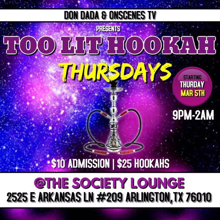 The All New DFW College Night Each & Every Thursday #2LitThursdays  LIve DJ, Hookas, Cheap Drinks Location: Society Lounge 2525 E Arkansas Ln #209 Arlington,TX #UTA #UTA22 #UTA23pic.twitter.com/qUup7hrtKM