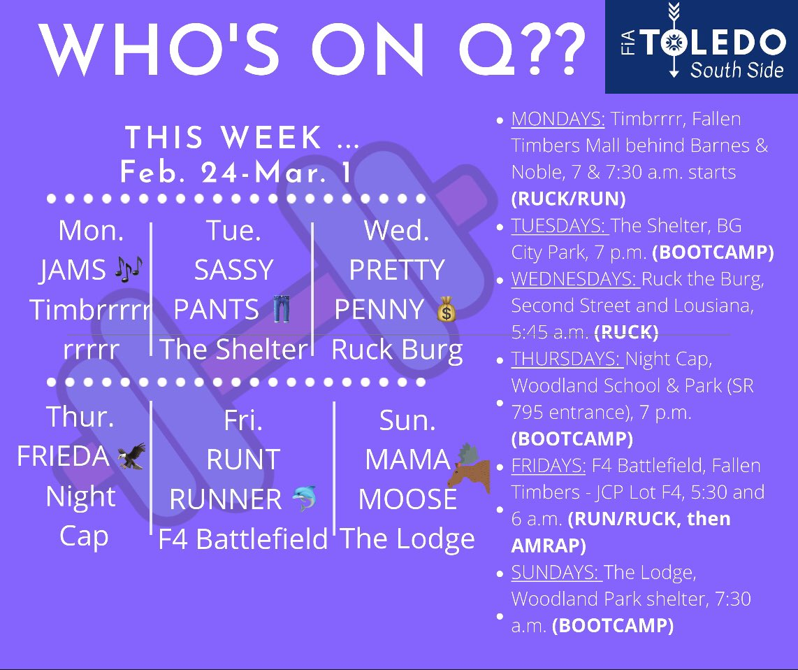 Meet the Qs for this week at FiA Toledo South Side! See you out there, ladies. #BetterTogether pic.twitter.com/9xWfmKEdXp