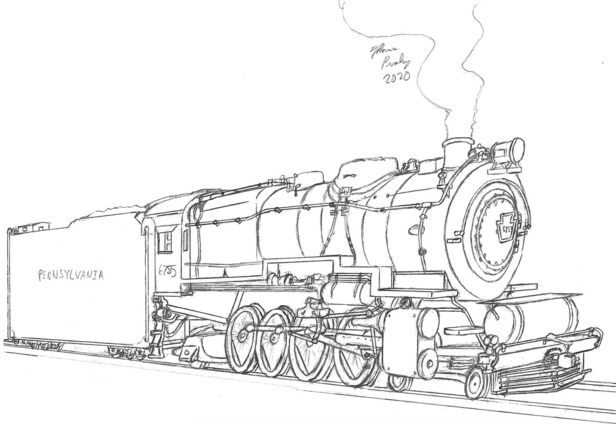 #WIP of a commission of the Pennsylvania M1a-class Mountain locomotive. #ArtistOnTwitter #artistsontwitter