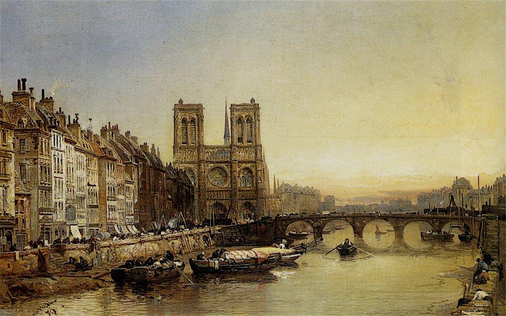 Notre Dame from the River Seine, Paris (1879) by James Webb (GB, 1825–1895). #EnglishArt #Seinepic.twitter.com/BsqoWol24v