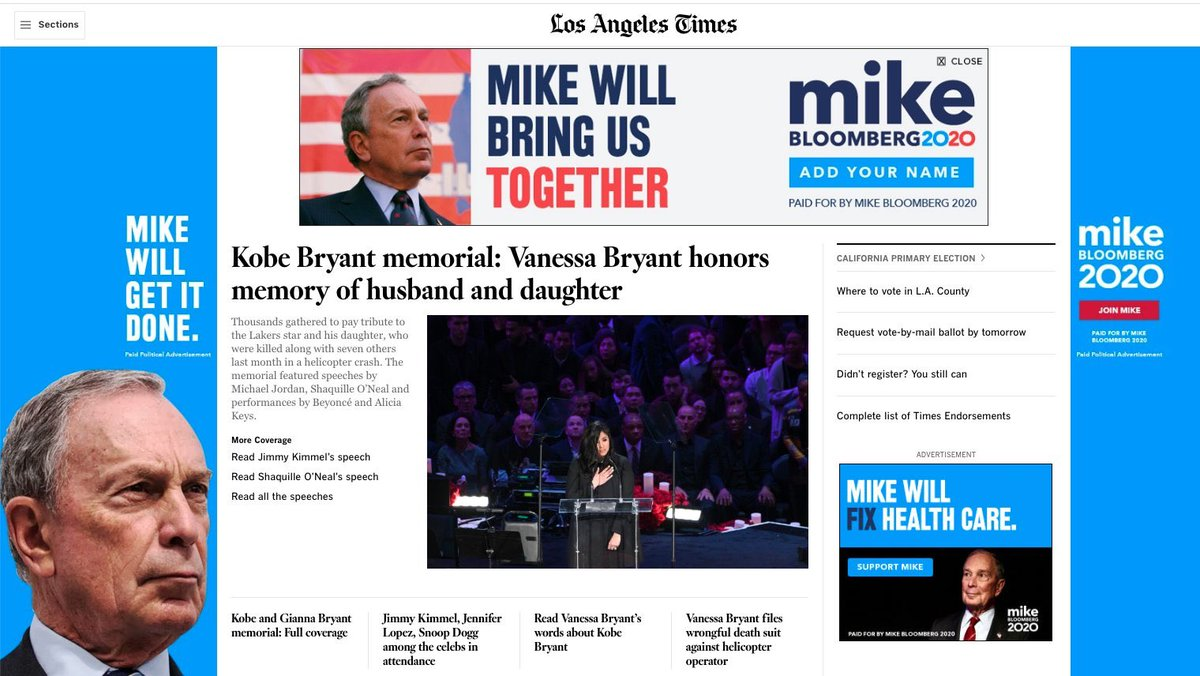 Replying to @fightdenial: No, it isn't the Bloomberg campaign website. It is the @latimes.