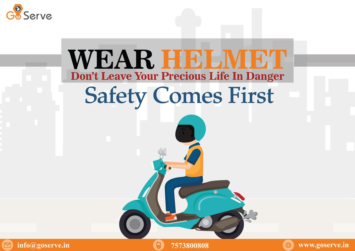 Don't leave your precious life in Danger, Wear helmet because safety come first,  Wear helmet and follow the traffic rules..  #goserve #helmet #rules #accident #awerness #bike #garage #automobile #AMCOFFERS #digitalindiapic.twitter.com/Hsqq72dZrS