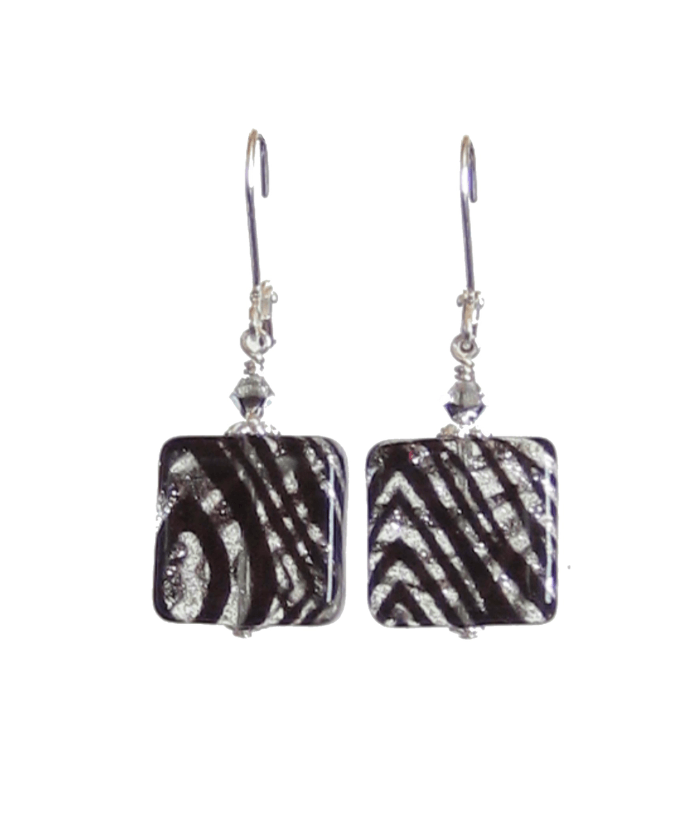 Murano Glass Zebra Sparkle Black Square Leverback Silver Earrings  #jewelry #etsymntt #fashion #earrings #murano #handmade